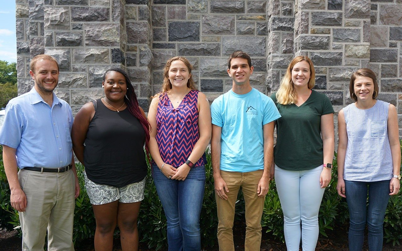 We would like to introduce to everyone our new PhD students starting this semester.  From left to right: William Anderson (technically started in the spring), Teirra Holloman, Tawni Paradise, Sam Snyder, Jessica Deters, and Stacey Kelly. Welcome to our growing EngE Hokie community!