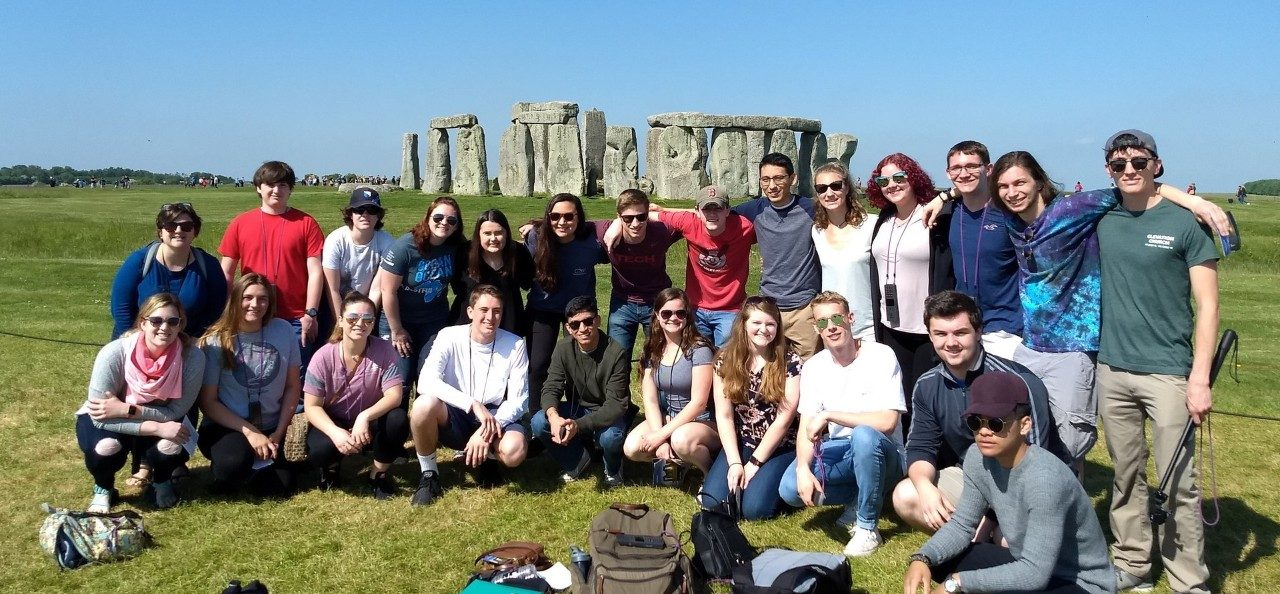 Rising Sophomore Abroad Program (RSAP) 2018 Students Visiting Stonehenge in Wiltshire, England