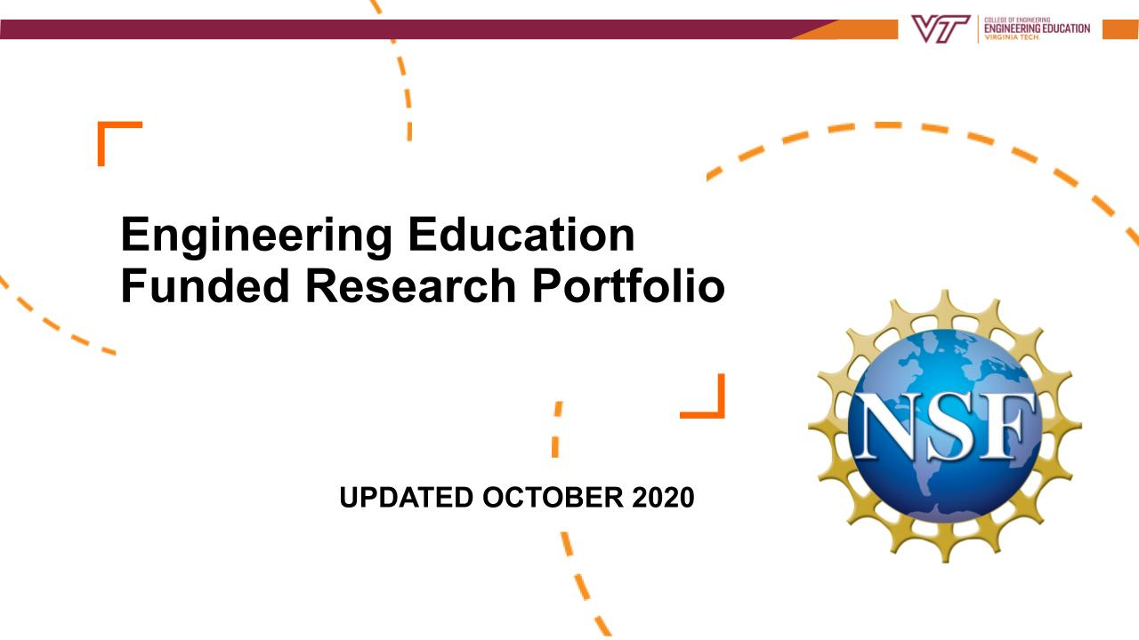 Engineering Education Funded Research Portfolio October 2020